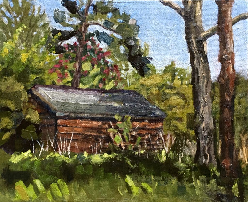 Painting by Caroline Greene of a shed surrounded by trees and foliage beneath a blue sky.